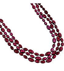 Set of 3 Burgundy Football Bead Necklaces #24/2602
