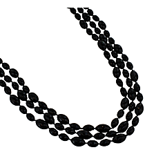 12 Black Football Bead Necklaces #24/3214
