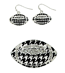 Crystal Accented Houndstooth Football Pendant and Earring Set #AC1144-ASC