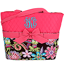 Frog Party Quilted Diaper Bag with Hot Pink Trim #FRQ2121-H/PINK
