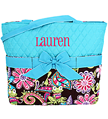 Frog Party Quilted Diaper Bag with Turquoise Trim #FRQ2121-TURQ
