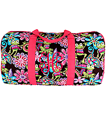 "21"" Frog Party Quilted Duffle Bag with Hot Pink Trim #FRQ2626-H/PINK"