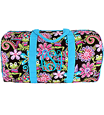 "21"" Frog Party Quilted Duffle Bag with Turquoise Trim #FRQ2626-TURQ"