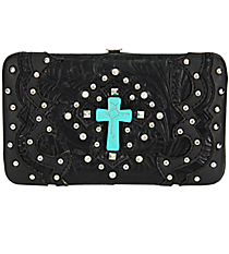 Western Black Tooled Leather Cross Flat Wallet #FW2070W6CCR-BLK/BLK