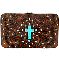 Western Brown Tooled Leather Cross Flat Wallet #FW2070W6CCR-BRO/BRO