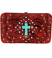 Western Red Tooled Leather Cross Flat Wallet #FW2070W6CCR-RED/RED