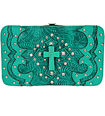 Western Turquoise Tooled Leather Cross Flat Wallet #FW2070W6CCR-TURQ/TURQ
