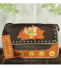 Western Two-Tone Leather Shoulder Bag #487-BG009