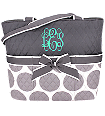 Gray Polka Dots Quilted Diaper Bag #GD2121-GRAY