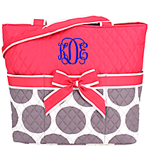 Gray Polka Dots Quilted Diaper Bag with Hot Pink Trim #GD2121-H/PINK