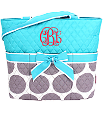 Gray Polka Dots Quilted Diaper Bag with Turquoise Trim #GD2121-TURQ