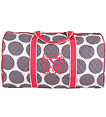 """21"""" Gray Polka Dots with Hot Pink Trim Quilted Duffle Bag  #GD2626-H/PINK"""