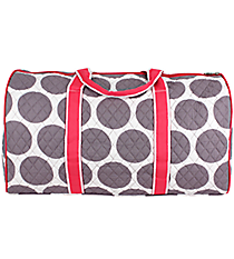 "21"" Gray Polka Dots with Hot Pink Trim Quilted Duffle Bag  #GD2626-H/PINK"