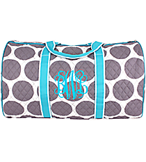 """21"""" Gray Polka Dots with Turquoise Trim Quilted Duffle Bag  #GD2626-TURQ"""