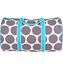 "21"" Gray Polka Dots with Turquoise Trim Quilted Duffle Bag  #GD2626-TURQ"