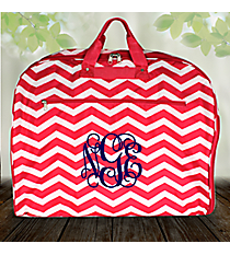 Fuchsia and White Chevron Garment Bag #GM40-165-F/W