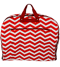 Red and White Chevron Garment Bag #GM40-165-R/W