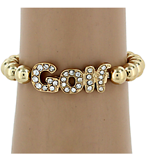 Crystal Accented Golf Stretch Bracelet #QB4080-GD