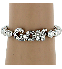 Crystal Accented Golf Stretch Bracelet #QB4080-RH