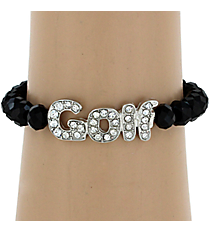 Crystal Accented Golf Stretch Bracelet #QB4090-RHBK