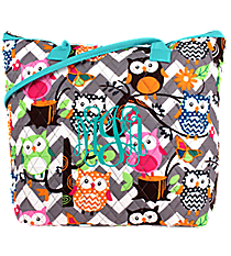 Chevron Owl Party Quilted Shoulder Bag with Aqua Trim #GQL1515-AQUA