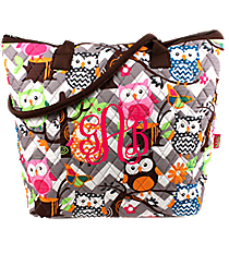 Chevron Owl Party Quilted Shoulder Bag with Brown Trim #GQL1515-BROWN