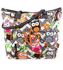 Chevron Owl Party Quilted Shoulder Bag with Gray Trim #GQL1515-GRAY