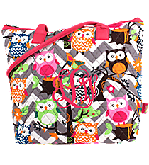 Chevron Owl Party Quilted Shoulder Bag with Hot Pink Trim #GQL1515-H/PINK