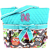 Chevron Owl Party Quilted Diaper Bag with Aqua Trim #GQL2121-AQUA