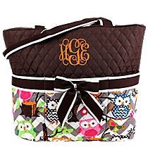 Chevron Owl Party Quilted Diaper Bag with Brown Trim #GQL2121-BROWN