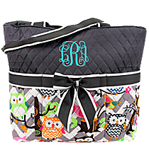Chevron Owl Party Quilted Diaper Bag with Gray Trim #GQL2121-GRAY
