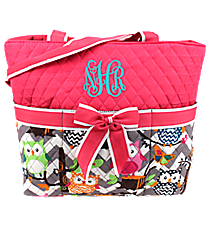 Chevron Owl Party Quilted Diaper Bag with Hot Pink Trim #GQL2121-H/PINK