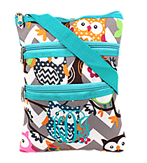Chevron Owl Party Crossbody Bag with Aqua Trim #GQL231-AQUA