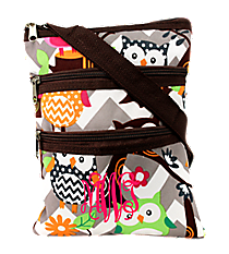 Chevron Owl Party Crossbody Bag with Brown Trim #GQL231-BROWN