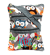Chevron Owl Party Crossbody Bag with Gray Trim #GQL231-GRAY