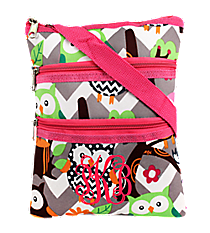 Chevron Owl Party Crossbody Bag with Hot Pink Trim #GQL231-H/PINK