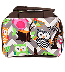 Chevron Owl Party Insulated Bowler Style Lunch Bag with Brown Trim #GQL255-BROWN