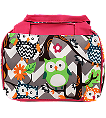 Chevron Owl Party Insulated Bowler Style Lunch Bag with Hot Pink Trim #GQL255-H/PINK