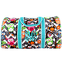 "21"" Chevron Owl Party Quilted Duffle Bag with Aqua Trim #GQL2626-AQUA"