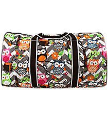 "21"" Chevron Owl Party Quilted Duffle Bag with Brown Trim #GQL2626-BROWN"