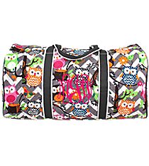 "21"" Chevron Owl Party Quilted Duffle Bag with Gray Trim #GQL2626-GRAY"