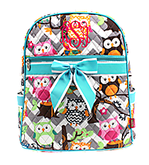 Chevron Owl Party Quilted Large Backpack with Aqua Trim #GQL2828-AQUA