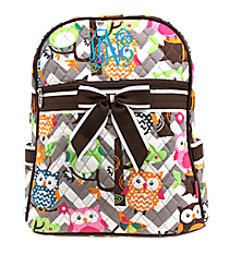 Chevron Owl Party Quilted Large Backpack with Brown Trim #GQL2828-BROWN