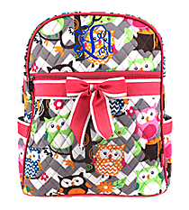 Chevron Owl Party Quilted Large Backpack with Hot Pink Trim #GQL2828-H/PINK