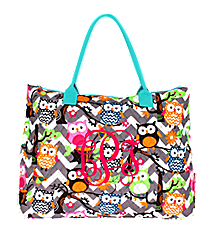 Chevron Owl Party Quilted Large Shoulder Tote with Aqua Trim #GQL3907-AQUA