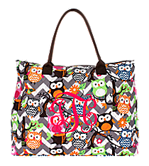 Chevron Owl Party Quilted Large Shoulder Tote with Brown Trim #GQL3907-BROWN