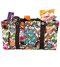 Chevron Owl Party with Brown Trim Collapsible Haul-It-All Utility Basket #GQL401-BROWN