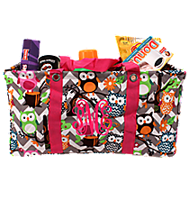 Chevron Owl Party with Hot Pink Trim Collapsible Haul-It-All Utility Basket #GQL401-H/PINK