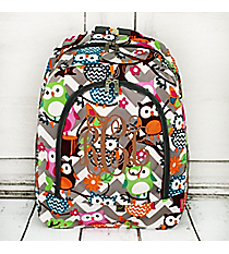 Gray Chevron Owl Party Large Backpack with Gray Trim #GQL403-GRAY