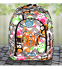 Gray Chevron Owl Party Large Backpack with Brown Trim #GQL403-BROWN